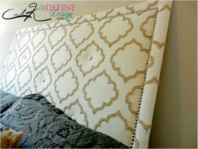 DIY Murphy Bed Headboard button nailhead